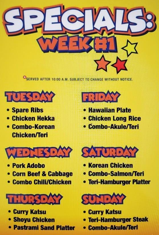 Specials Week 1